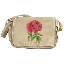 Pink Peony Watercolor Sketch Messenger Bag