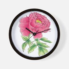 Pink Peony Watercolor Sketch Wall Clock