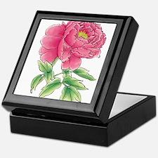 Pink Peony Watercolor Sketch Keepsake Box