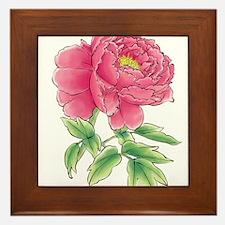 Pink Peony Watercolor Sketch Framed Tile