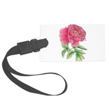 Pink Peony Watercolor Sketch Luggage Tag