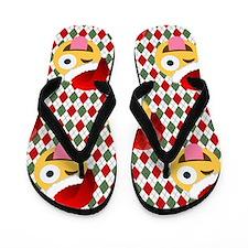 christmas santa wink emoji Flip Flops
