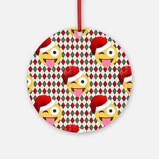 christmas santa wink emoji Round Ornament