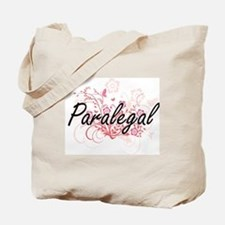 Paralegal Artistic Job Design with Flower Tote Bag