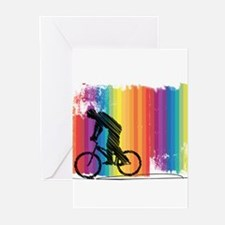 Graphic Ink Sketch Cyclist on Grung Greeting Cards