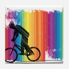Graphic Ink Sketch Cyclist on Grunge Tile Coaster