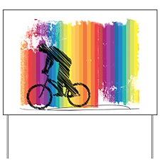 Graphic Ink Sketch Cyclist on Grunge Rai Yard Sign