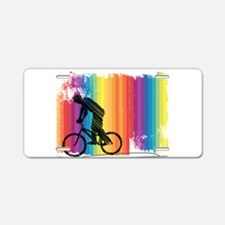 Graphic Ink Sketch Cyclist Aluminum License Plate
