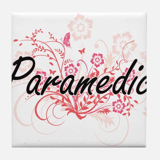 Paramedic Artistic Job Design with Fl Tile Coaster