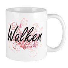 Walken surname artistic design with Flowers Mugs