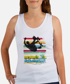 Skateboarder Ink Sketch Jump on Rainbow B Tank Top