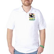 Skateboarder Ink Sketch Jump on Rainbow T-Shirt
