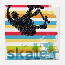 Skateboarder Ink Sketch Jump on Rainb Tile Coaster