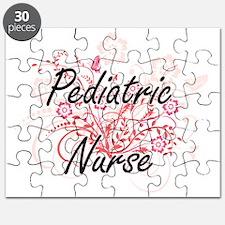 Pediatric Nurse Artistic Job Design with Fl Puzzle