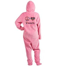 2-peace love teach copy.png Footed Pajamas