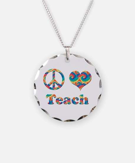 2-peace love teach copy.png Necklace Circle Charm