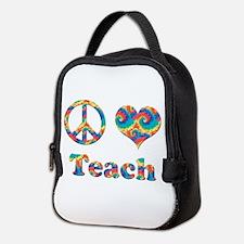 2-peace love teach copy.png Neoprene Lunch Bag