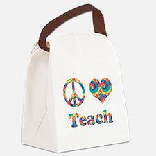 2-peace love teach copy.png Canvas Lunch Bag