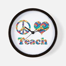 2-peace love teach copy.png Wall Clock