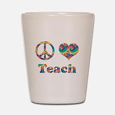2-peace love teach copy.png Shot Glass