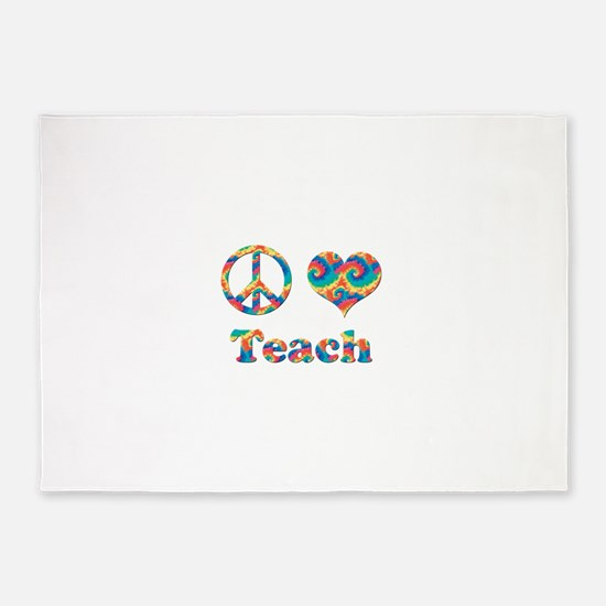 2-peace love teach copy.png 5'x7'Area Rug
