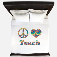 2-peace love teach copy.png King Duvet