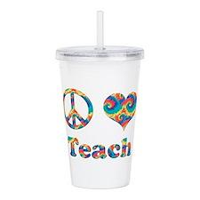 2-peace love teach cop Acrylic Double-wall Tumbler