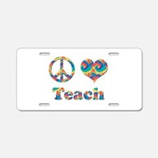 2-peace love teach copy.png Aluminum License Plate