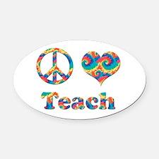 2-peace love teach copy.png Oval Car Magnet