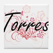 Torres surname artistic design with F Tile Coaster