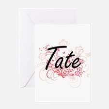 Tate surname artistic design with F Greeting Cards