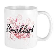 Strickland surname artistic design with Flowe Mugs