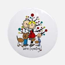 Expectant Couple Toddler Boy Cat Round Ornament