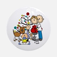 Stick Figure Family W. Cat And Dog Round Ornament