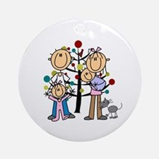 Christmas Stick Figure Family Of 4 Round Ornament