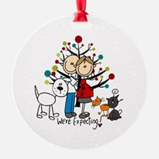 Expectant Couple 2 Cats Dog Ornament