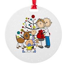 Expectant Couple Girl Boy Dog Ornament