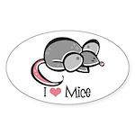 I Love Mice Oval Sticker