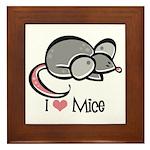 I Love Mice Framed Tile