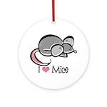 I Love Mice Ornament (Round)