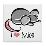 I Love Mice Tile Coaster