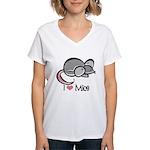 I Love Mice Women's V-Neck T-Shirt