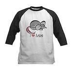 I Love Mice Kids Baseball Jersey
