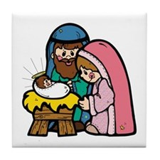 Cute Nativity Scene Tile Coaster