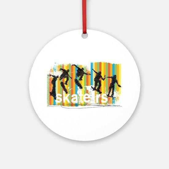 Ink Sketch of Skateboarder Progress Round Ornament