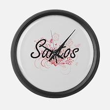 Santos surname artistic design wi Large Wall Clock