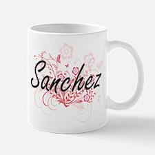 Sanchez surname artistic design with Flowers Mugs