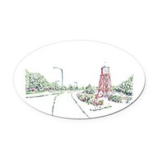 Water Tower Ascendant Oval Car Magnet