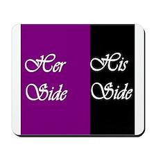 Her Side: His Side , purple, black Mousepad