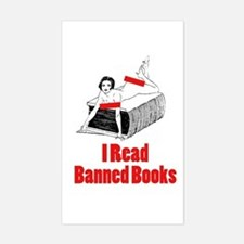 I Read Banned Books Rectangle Decal